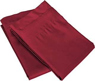 Superior 100% Egyptian Cotton 650 Thread Count, King 2-Piece Pillowcase Set, Single Ply, Solid, Burgundy
