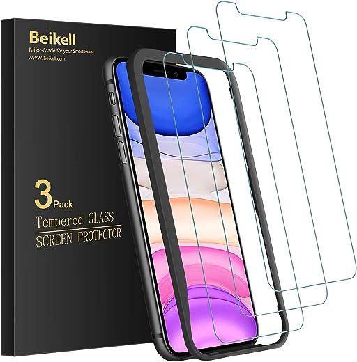 Beikell Panzerglas für iPhone 11, iPhone XR mit Positionierhilfe, 9H Super-Härte, Blasenfrei und Kratzfest, 3 Stück