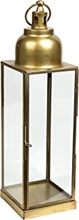 Danya B. Barths Brass and Glass Lantern Candle Holder, Rustic Indoor Home Decor - Modern Rustic Vintage Farmhouse Style Av...