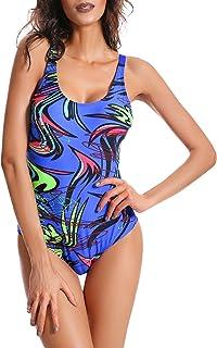 Bañador de Una Pieza para Mujer con Tirantes Ajustables Traje de Baño con Relleno Ropa de Natación para Verano - ES 42-46