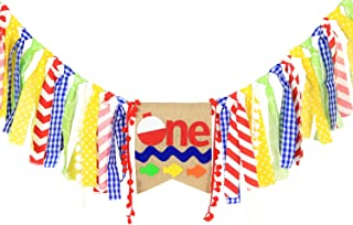 WAOUH High Chair Banner for 1st Birthday - First Birthday Decorations for Photo Booth Props, Birthday Souvenir and Gifts for Kids, Best Party Supplies (The Big ONE Fish Banner)
