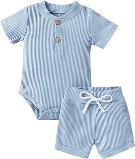 WangsCanis Unisex Neugeborene 2 Stück Baby Junge Mädchen Strick Kleidung, Solid Button Kurzarm Bodys Strampler Tops Kurze Hosen Outfit