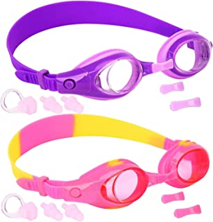Kids Swim Goggles, Pack of 2, Swimming Glasses for Children and Early Teens from 3 to 15 Years Old, Clear Vision, Anti-Fog, Waterproof, UV Protection