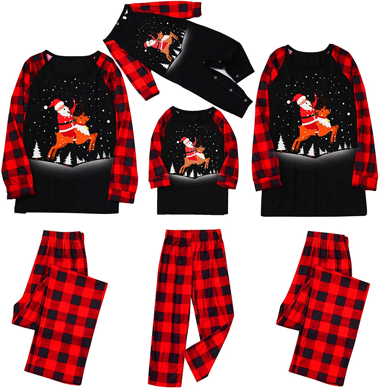 Christmas Pajamas for Family Plaid Print 2 Piece Sets Loungewear Household Sleepwear Casual Fashion Outfits Pockets