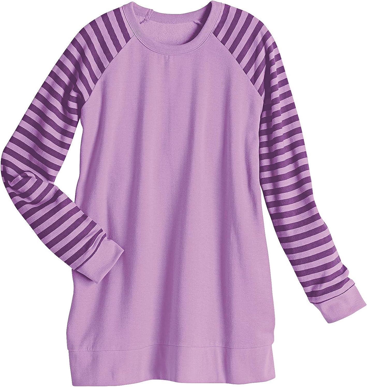 AmeriMark Women's Casual Sweatshirt Striped Long Sleeve Lightweight Pullover Top