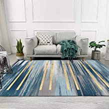 Blue Abstract Printed Rugs, Washable Non-Slip Floor Mats for Living Room, 8Mm Bedroom Carpet,B,120x160cm