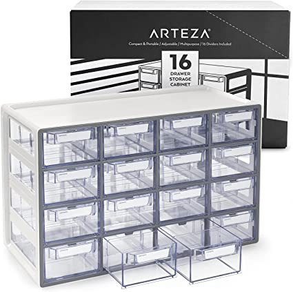 Arteza 16 Drawer Storage Cabinet, Multi Compartment Organiser