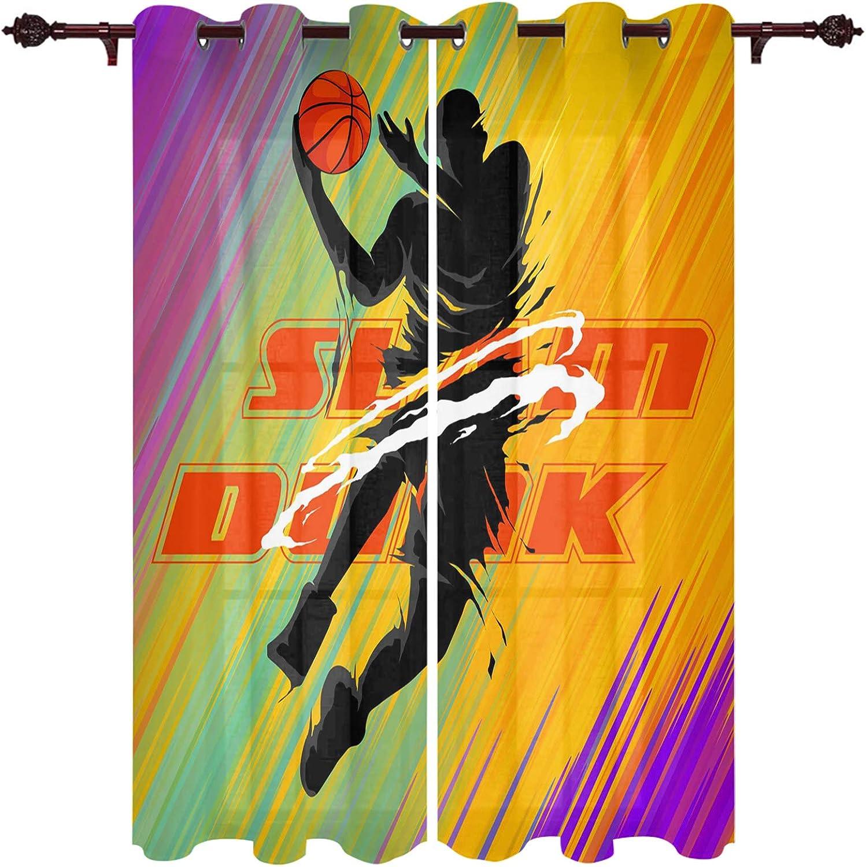 Window Treatment Sheer Curtains Classic Basketball Ki Max 82% OFF Slam Dunk 2 Panels