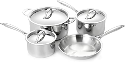 Cuisinox 7 Piece 18/10 Stainless Steel Super Elite Cookware Set Tri-Ply Bonded