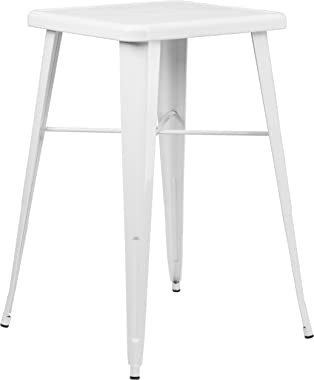 Flash Furniture 23.75'' Square White Metal Indoor-Outdoor Bar Height Table,