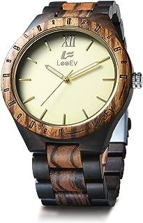 EV1001 Mens Natural Black & Zebra Sandal Wood Analog Quartz Light Weight Vintage Wooden Wrist Watch (Gold)