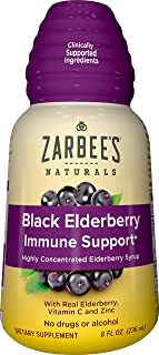 Zarbee's Naturals Black Elderberry Immune Support* Highly Concentrated Syrup with Real Elderberry, Vitamin C, & Zinc, 8 oz...