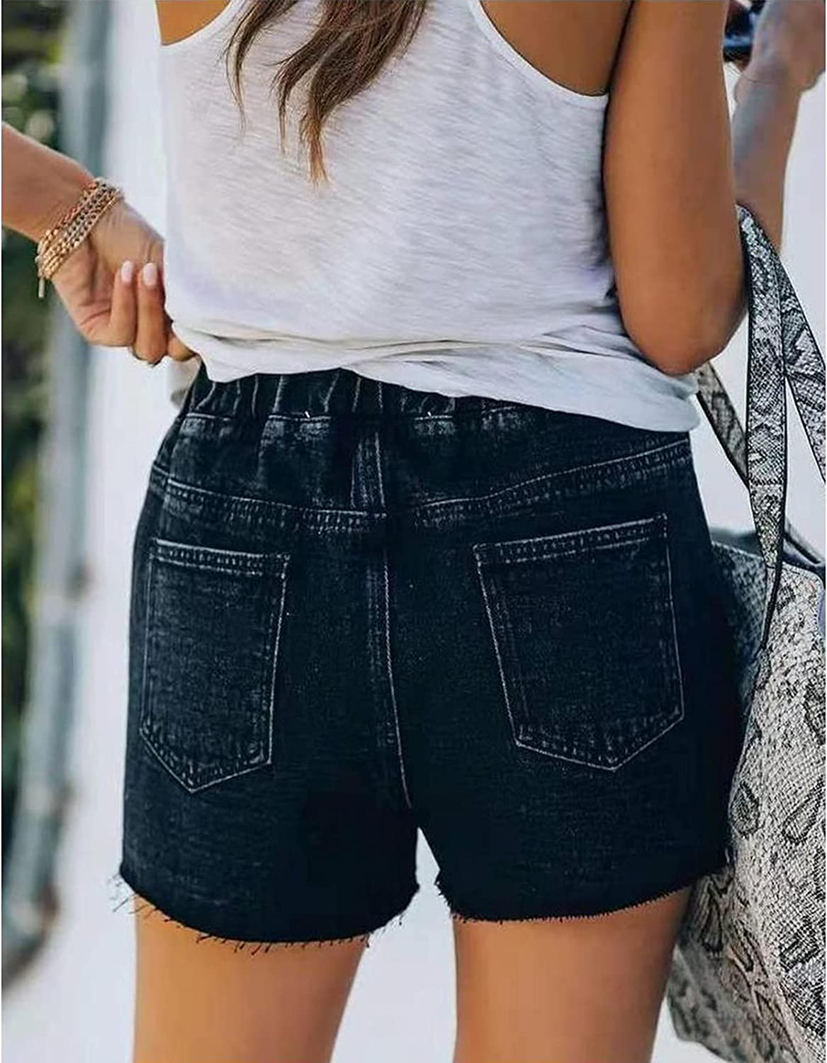 juyouqian Womens Casual Shorts Summer Drawstring Elastic Waist Comfy Frayed Jeans Short with Pockets