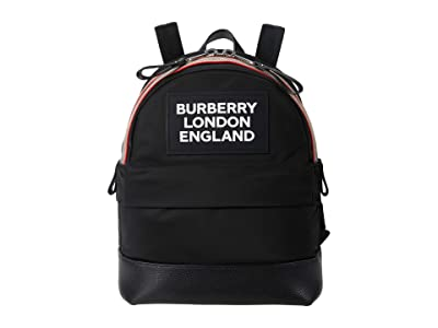 Burberry Kids Small Nico Nylon Printed Logo on Front (Black) Backpack Bags
