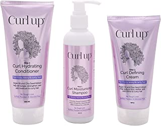 Curl Up Curl Care Bundle with Curly Hair Shampoo, Conditioner and Leave in Curl Defining Cream - For Dry Frizzy, Wavy & Cu...