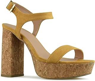 Women's Ankle Strap High Heel - Open Toe Sandal Pump - Chunky Cork Heel Platform Shoe