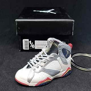 Air Jordan VII 7 Retro Olympic Dream Team White Silver OG Sneakers Shoes 3D Keychain 1:6 Figure + Shoe Box