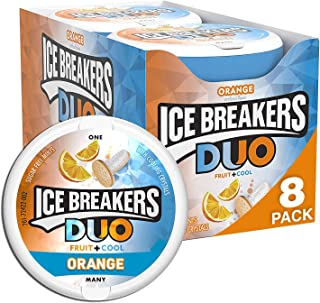 ICE BREAKERS Duo Sugar Free Mints, Orange, 1.3 Ounce, Pack of 8