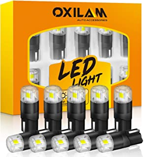 OXILAM 194 LED Bulbs 6000K White 168 2825 W5W T10 Interior Car Light Bulbs Replacement for Dome Map Door Courtesy Step Lic...