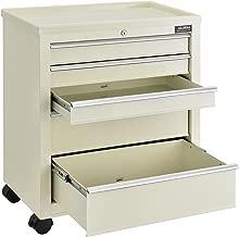 Medical Bedside Cart, 5-Drawer, Key Lock, Beige, 24-1/2