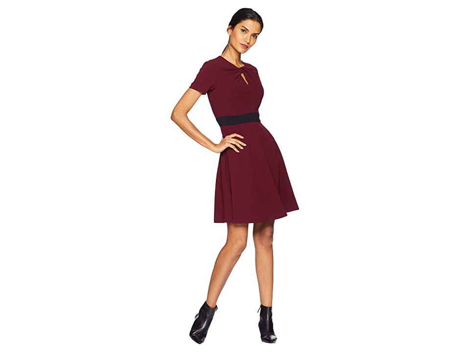 Taylor Short Sleeve Fit and Flare Dress (Burgundy) Women