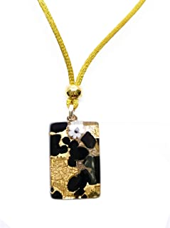 Murano Glass Rectangle Pendant Necklace-Yellow