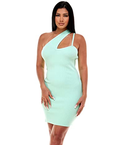Bebe One Shoulder Rib Mini Dress