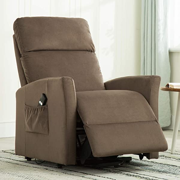 ANJ Power Lift Recliner Chair For Elderly With Remote Control Heavy Duty Reclining Sofa Soft Fabric Living Room Chair With Plush Padding Seat Light Brown