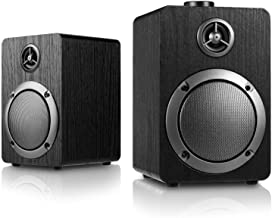 USB-Powered PC Computer Speakers; Mica PB20 with 2.0CH Surround Sound, Wooden Wired LED Volume Control Mini Speaker for Multiple Devices (with 3.5mm AUX & PC Input) Black