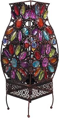 Perlas de colores con incrustaciones de lámpara de mesa, luz de la noche E14 decoración retro salón dormitorio creativo adornos: Amazon.es: Hogar