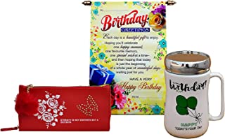 Saugat Traders Birthday Gift Set for Girls and Women (Combo of Coffee Mug, Birthday Scroll Card and Wallet)