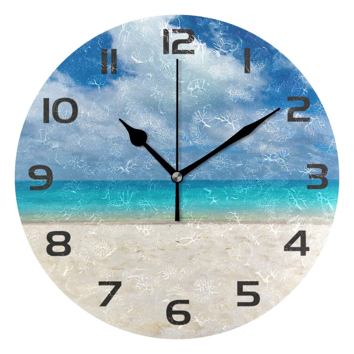 One Bear Beautiful Beach Wall Clock, Non Ticking Quartz Analog Silent  Seashore Sea Ocean Blue Sky Round Clocks Battery Operated for Kitchen  Bathroom ...