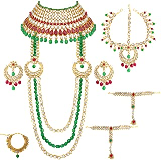 Indian Bridal Jewelry Set Faux Kundan Long Choker Necklace Dangle Earrings Mathapatti Headpiece Haath Phool with Nose Ring (Red-Green)