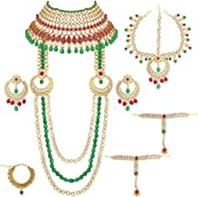 Aheli Indian Bridal Jewelry Set Faux Kundan Long Choker Necklace Dangle Earrings Mathapatti Headpiece Haath Phool with Nose Ring (Red-Green)
