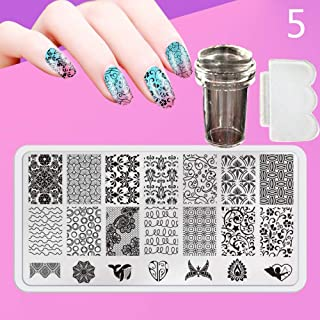 Zmond - New 12X6cm 44 Style Nail Stamping Plates Set Made Stencils Lace Flower DIY Nail Art Templates+Transparent Stamper Stamp Scraper [ 5 ]