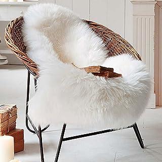 Cleana Arts Alfombra de felpa de piel de oveja Premium de estilo nórdico con piel gruesa súper esponjosa, se adapta perfectamente a la sala de estar / dormitorio o como decoración de sofá. Aprox. 65cm x 102cm (blanco lvory)