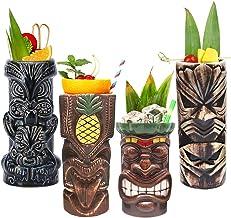Tiki Mugs Cocktail Set of 4 - Tumblers Ceramic Hawaiian Luau Party Mugs Drinkware, Cute Exotic Cocktail Glasses, Tiki Bar ...
