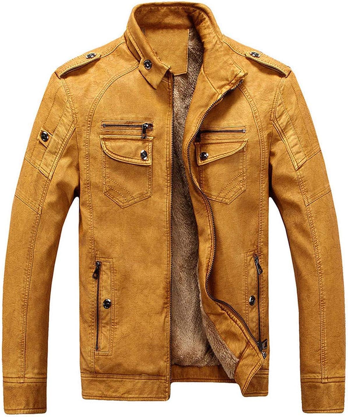 Omoone Men's Slim Warm Thick Fleece PU Leather Trucker Jacket Outwear Coats