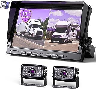 "eRapta Backup Camera with 10"" Larger Monitor Dual Split Monitor with DVR Vehicle Camera System Kit IP69 Waterproof Reversi..."