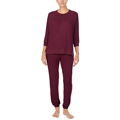 Donna Karan Brushed Sweater Jersey Sleepwear Set (Aubergine Marl) Women