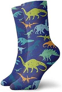 Elsaone, Equipo de calcetines con patrón de dinosaurio retro para hombres, mujeres, niños, trekking, rendimiento, exteriores 30 cm