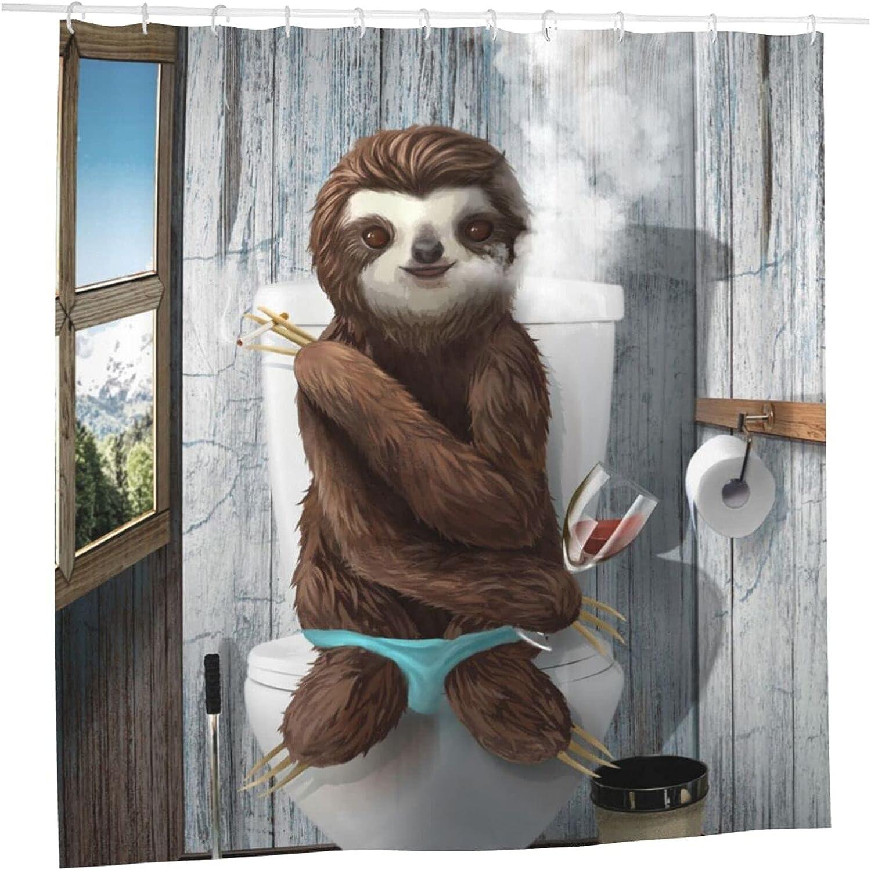 Akuroou Sloth on Toilet Shower Bath Curtains Fees free Max 41% OFF Animal Curtai Funny