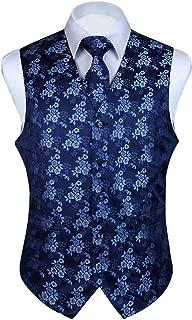 3pc Men's Paisley Floral Jacquard Waistcoat & Necktie and Pocket Square Vest Suit Set