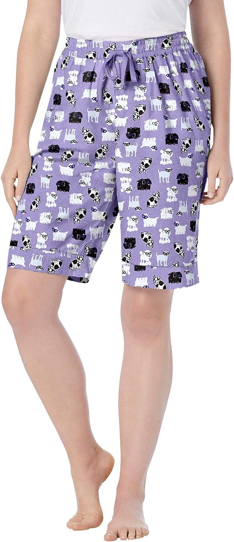 Dreams & Co. Women's Plus Size Cotton Poplin Pajama Shorts Pajama Bottoms - 34/36, Soft Iris Dogs Purple