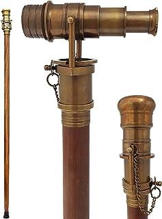 Den nya antika butiken – teleskop promenadpinne antik finish kostym trä käpp vikbar rosenträspinne steampunk-stil 97 cm Br...