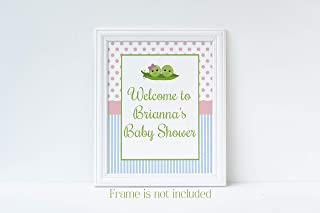 Two Peas in a Pod Baby Shower Welcome Sign, Twins Baby Shower, Boy Girl Baby Shower, Baby Shower Decorations for Twins, Glossy 8x10 Sign, Frame is NOT included