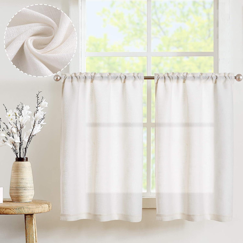 JINCHAN White Kitchen Curtains Max 68% OFF Flax Rod Sho Great interest Elegant Pocket Linen