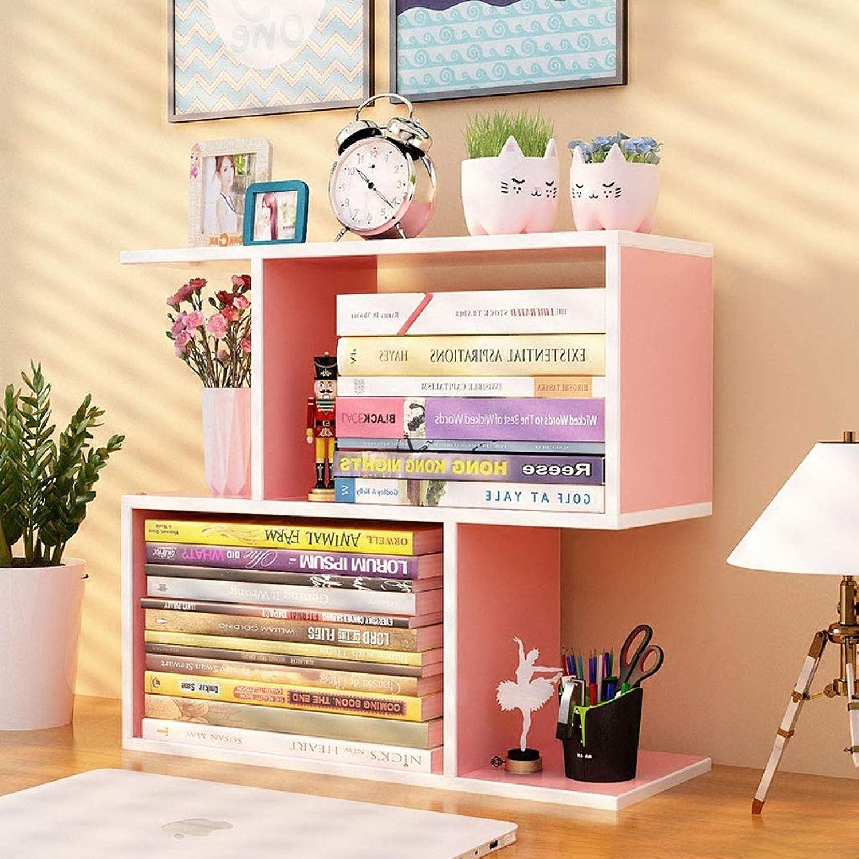DIY Wooden Desktop Bookshelf, Creative Desktop Storage Rack Home Office Desktop Organizer-L4517  43cm (color   Pink)