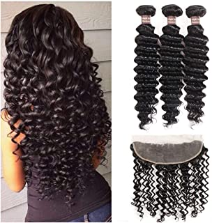 Deep Wave Hair Bundles with Lace Frontal, Ali Funmi (18 20 22+16) Unprocessed Virgin Peruvian Deep Wave Weaves with 13x4 Ear to Ear Lace Frontal Closure Hair Extension Natural Color