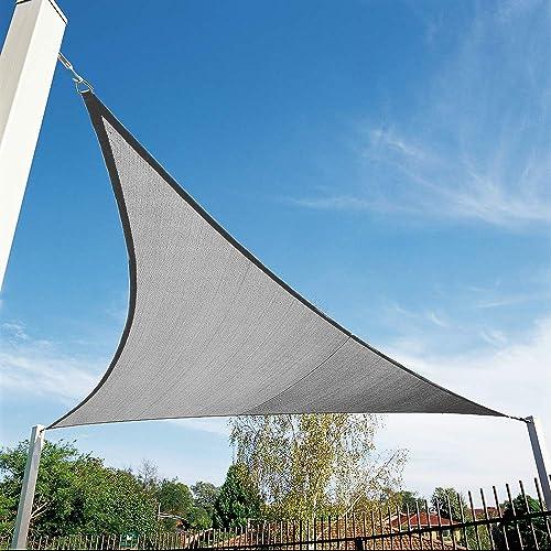 Shade&Beyond 12'x12'x12' Sun Shade Sail Triangle Canopy Grey Outdoor UV Sunshade Sail for Patio Yard Backyard Garden ...